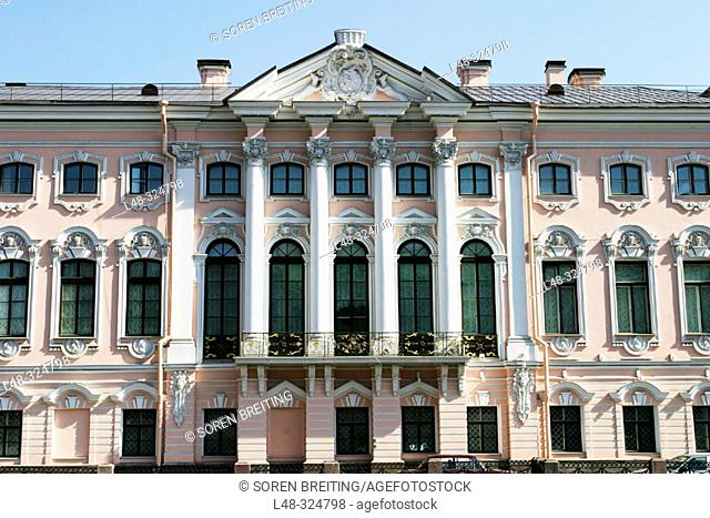 Stroganov Palace in St. Petersburg (Saint-Petersburg, former Leningrad). Rosy colored walls and Baroque-style architecture. Russia