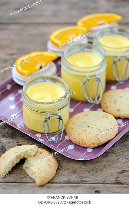 Orange creams and thyme biscuits