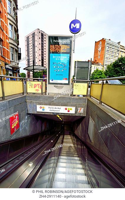 Brussels, Belgium. Porte de Halle / Hallepoort metro station entrance