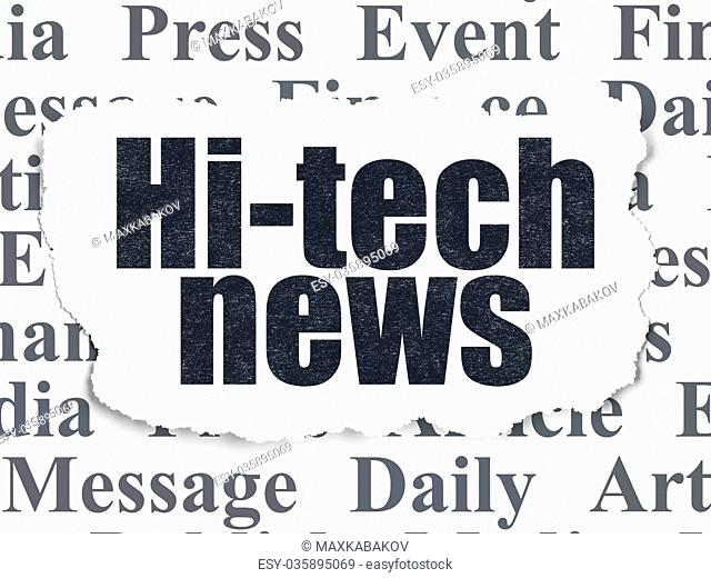 News concept: Hi-tech News on Torn Paper background