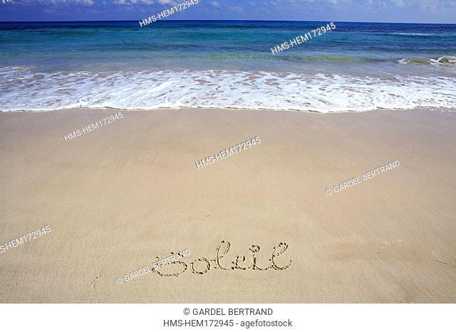 Tunisia, Djerba, sun written on sand