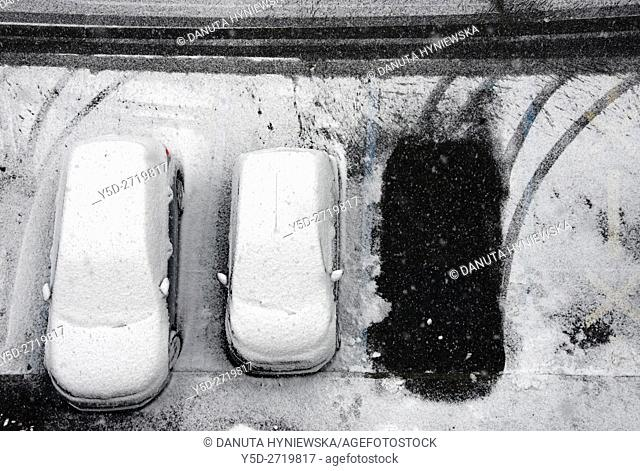 parking space along the street seen from above in winter, Geneva, Switzerland, Europe