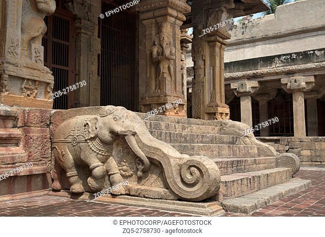 Elephants of the balustrades, Subrahmanyam shrine, Brihadisvara Temple complex, Tanjore, Tamil Nadu, India
