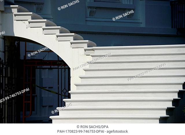 High Resolution view of the newly renovated steps on the east side of the South Portico of the White House in Washington, DC on Tuesday, August 22, 2017