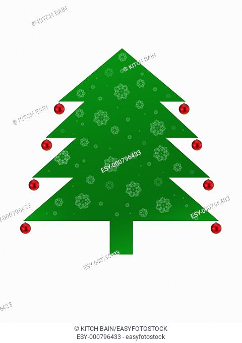 Christmas tree illustration isolated against a white background