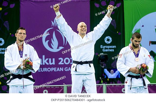 From left silver Lukas Krpalek from Czech Republic, winner Henk Grol from Netherlands and third placed Toma Nikiforov of Belgium at the Men's Judo under 100kg...