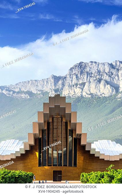 Emblematic Ysios winery in Laguardia designed by Santiago Calatrava, La Rioja, Alava, Basque Country, Spain