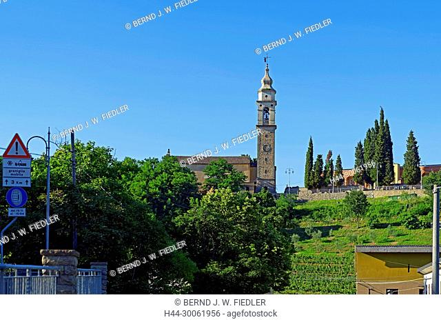 Europe, Italy, Veneto Veneto, Galzignano Terme, via sweeper Benedetti, Eugenianische hill, church, local view, trees, mountains, plants, place of interest