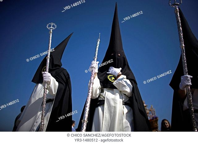 Penitents of the Jesus del Silencio brotherhood, known as the Brotherhood of Love perform in an Easter Holy Week procession in Cordoba, Andalusia, Spain
