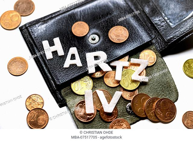 wallet, small change, lettering Hartz IV