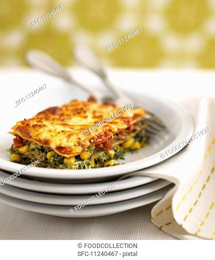 Lasagne made with spinach and sweetcorn