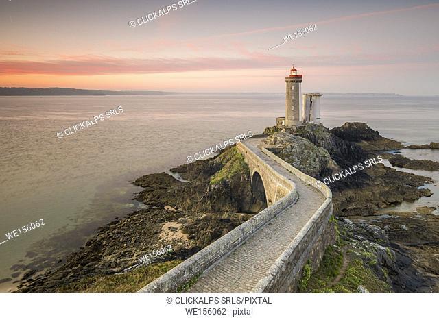 Petit Minou lightouse at sunrise. Plouzané, Finistère, Brittany, France