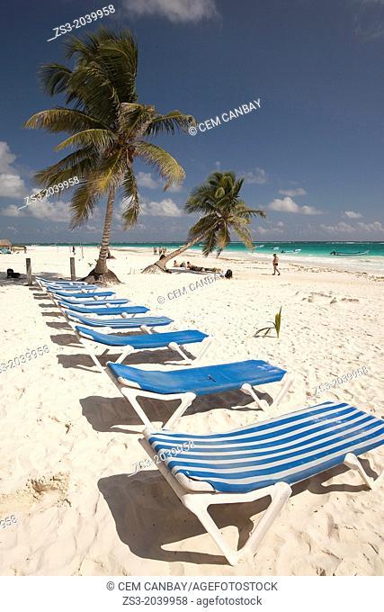 Sunbeds at Tulum public beach, Tulum, Quintana roo, Yucatan Province, Mexico
