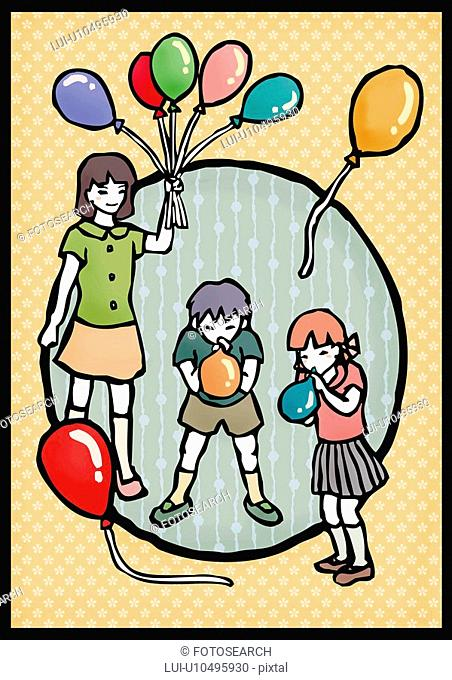 Three children playing balloons, one holding and two blowing up balloons, front view