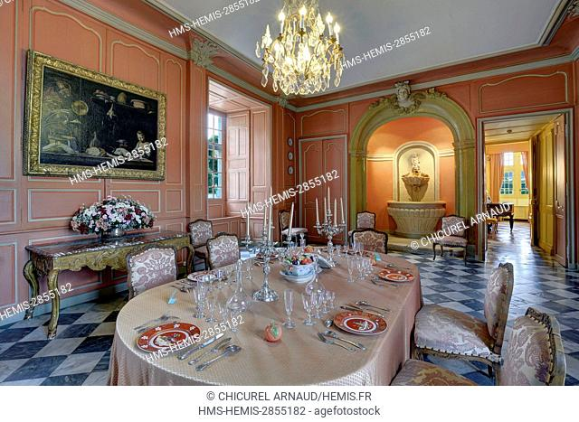 France, Indre et Loire, Loire valley listed as World Heritage by UNESCO, the castle of Villandry belonging to Angelique and Henri Carvallo, the dinning room