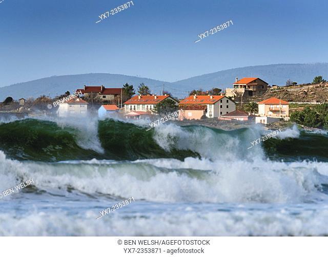 Houses close to the sea. Galicia, Spain