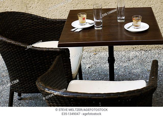 A cafe table after two people have left