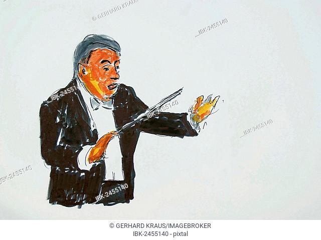 The conductor, illustration, Gerhard Kraus, Kriftel, Germany