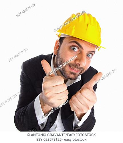 Crazy engineer on white background