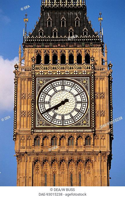 United Kingdom - England - London - Westminster Palace (World Heritage Site by UNESCO, 1987). The Big Ben. Specifically, the clock