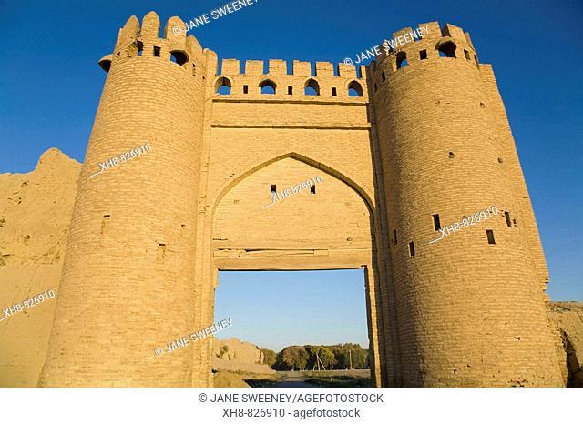 Talipach reconstructed gate on the ancient Shaybanid city walls, Bukhara, Uzbekistan