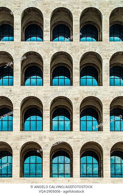 Facade of Palazzo della Civiltà Italiana, Colosseo Quadrato, EUR, Expo, Rome, Italy, Esposizione Universale