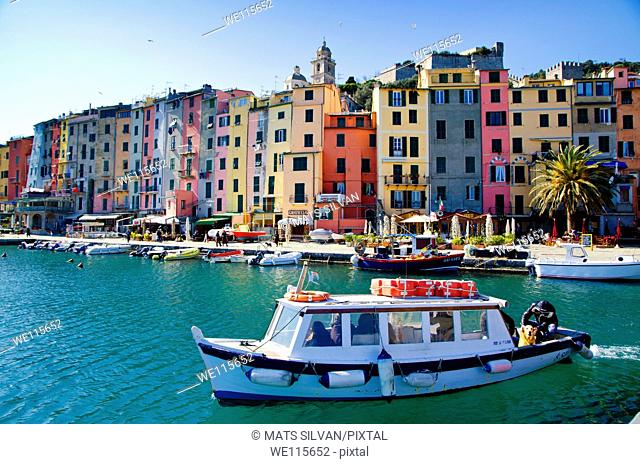 Old and colorful buildings on the lake front in portovenere italy