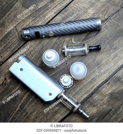advanced vaping device on the table, e-cigarette