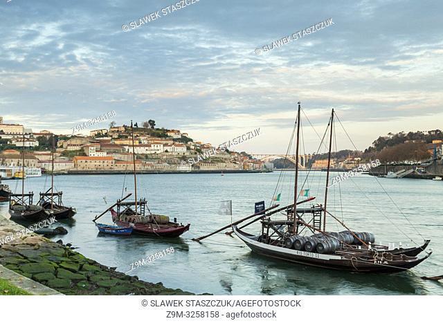 Sunrise on Douro river in Porto, Portugal