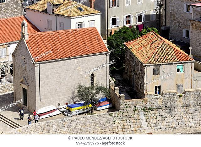 Church in the old harbour of Dubrovnik, Croatia