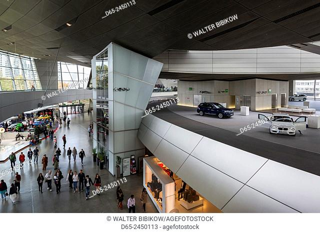 Germany, Bavaria, Munich, BMW Welt company showroom, interior