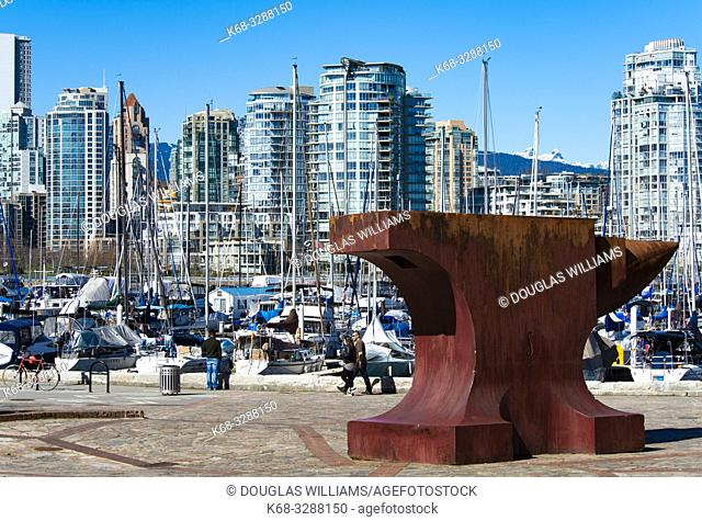 Acoustic Anvil, A Small Weight to Forge the Sea, by sculptor Maskull Lasserre, art in Leg-in-Boot Square, Vancouver, BC, Canada, part of Vancouverâ