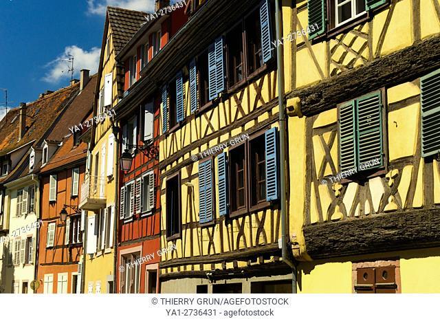 France, Haut-Rhin (68), Colmar town, Saint Jean street, half-timbered houses