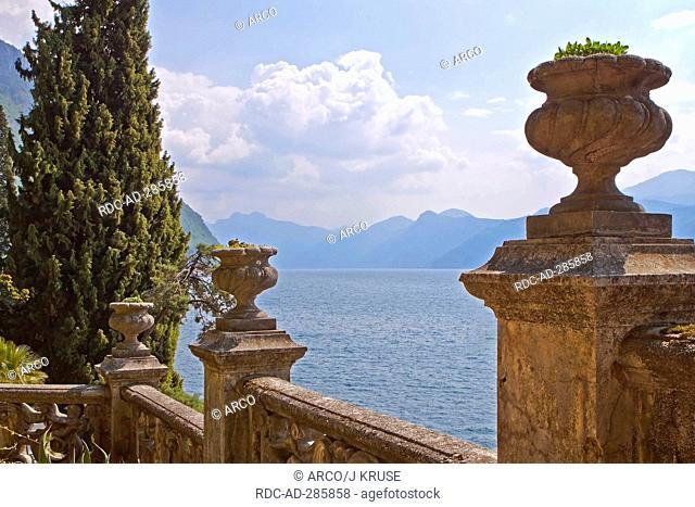 Balustrade, Villa Monastero, Varenna, Lake Como, province of Lecco, Lombardy, Italy / Lago di Como