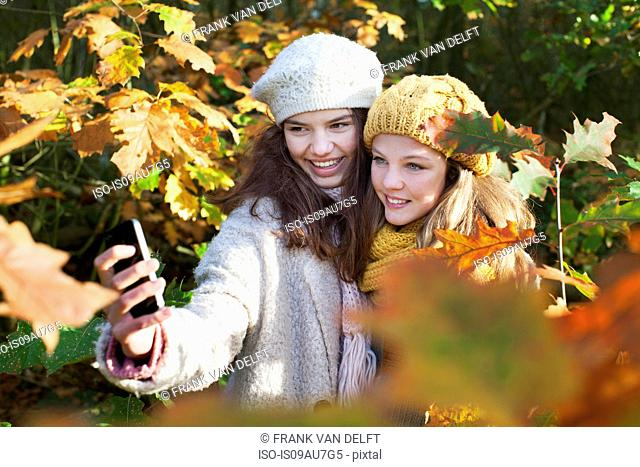 High angle view of teenage girls among autumn leaves using smartphone to take selfie smiling