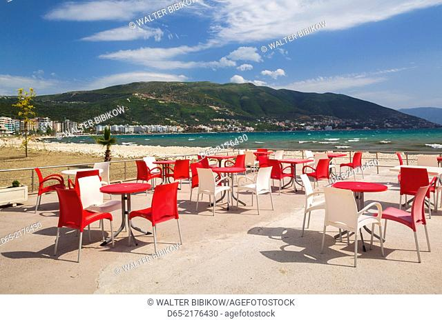 Albania, Vlora, beachfront and beach chairs