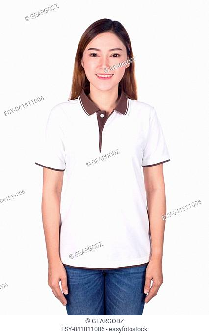 happy woman in white polo shirt isolated on white background