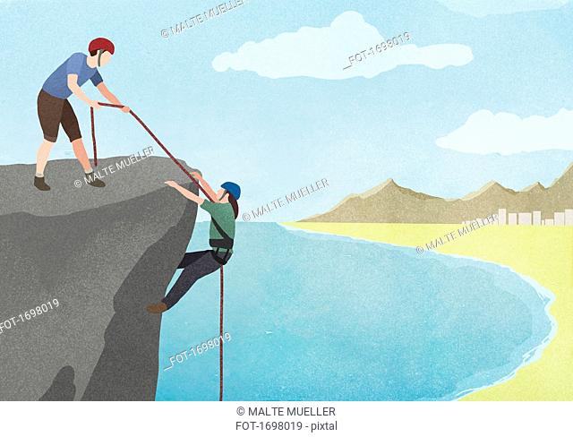 Illustration of man pulling woman with rope on cliff against sky