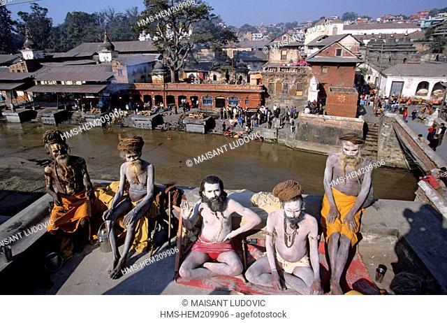 Nepal, Kathmandu Valley, listed as World Heritage by UNESCO, Kathmandu, Pashupatinath, sadhus in front of the sacred Bagmati river