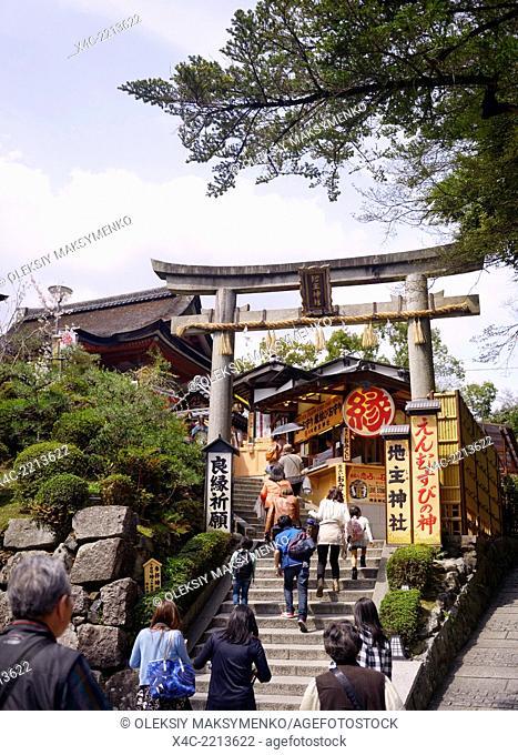 People entering Jishu Jinja matchmaking shrine of marriage at Kiyomizu-dera Buddhist temple in Higashiyama, Kyoto, Japan 2014