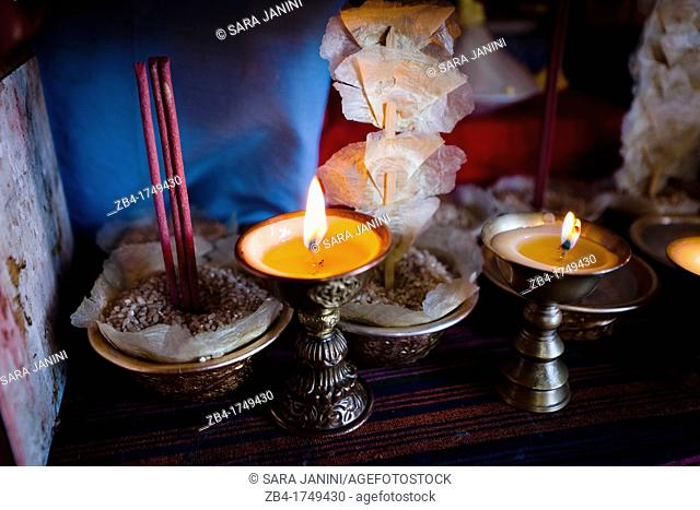 Butter candles, monks are invited to perform ceremonies at the home of the Bhutanese families, Bumthang, Bhutan, Asia