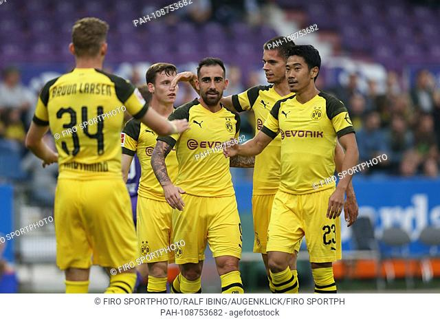 firo: 06.09.2018, football, 1.Bundesliga, season 2018/2019, test match, VfL Osnabruck - BVB, Borussia Dortmund BVB, jubilation with BRUUN LARSEN