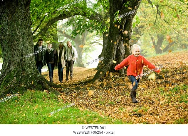 Germany, Baden-Württemberg, Swabian mountains, Family walking together in forest