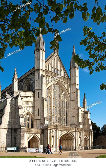 Winchester Cathedral Main entrance north west face with people