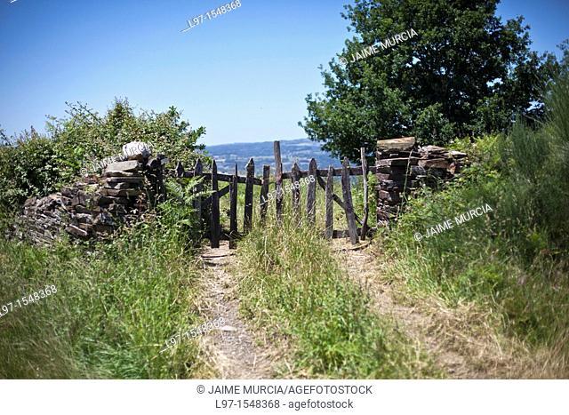 Old wooden farm gate along the Camino de Santiago, Perros