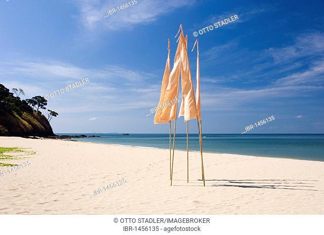 Flags on the sandy beach, Kantiang Beach, Ko Lanta or Koh Lanta island, Krabi, Thailand, Asia