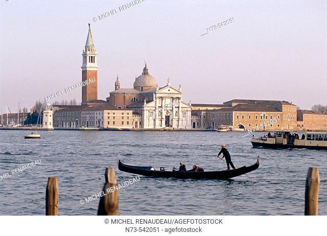Gondola and San Giorgio Maggiore island in background, Venice, Italy