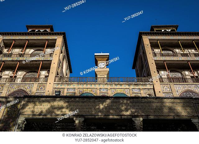 Edifice of the Sun (Shams ol Emareh) building in Golestan Palace (Palace of Flowers), former royal Qajar complex in Tehran city, capital of Iran