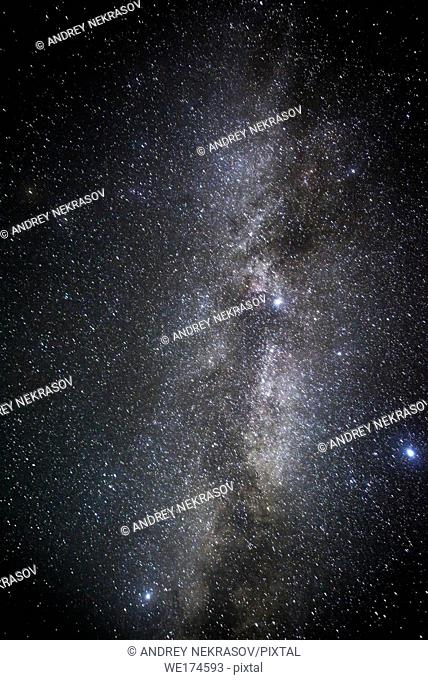 Night starry sky, constellation Milky Way. Ukraine, Eastern Europe