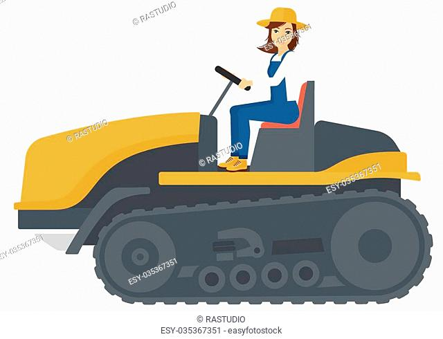 A farmer driving a catepillar tractor vector flat design illustration isolated on white background